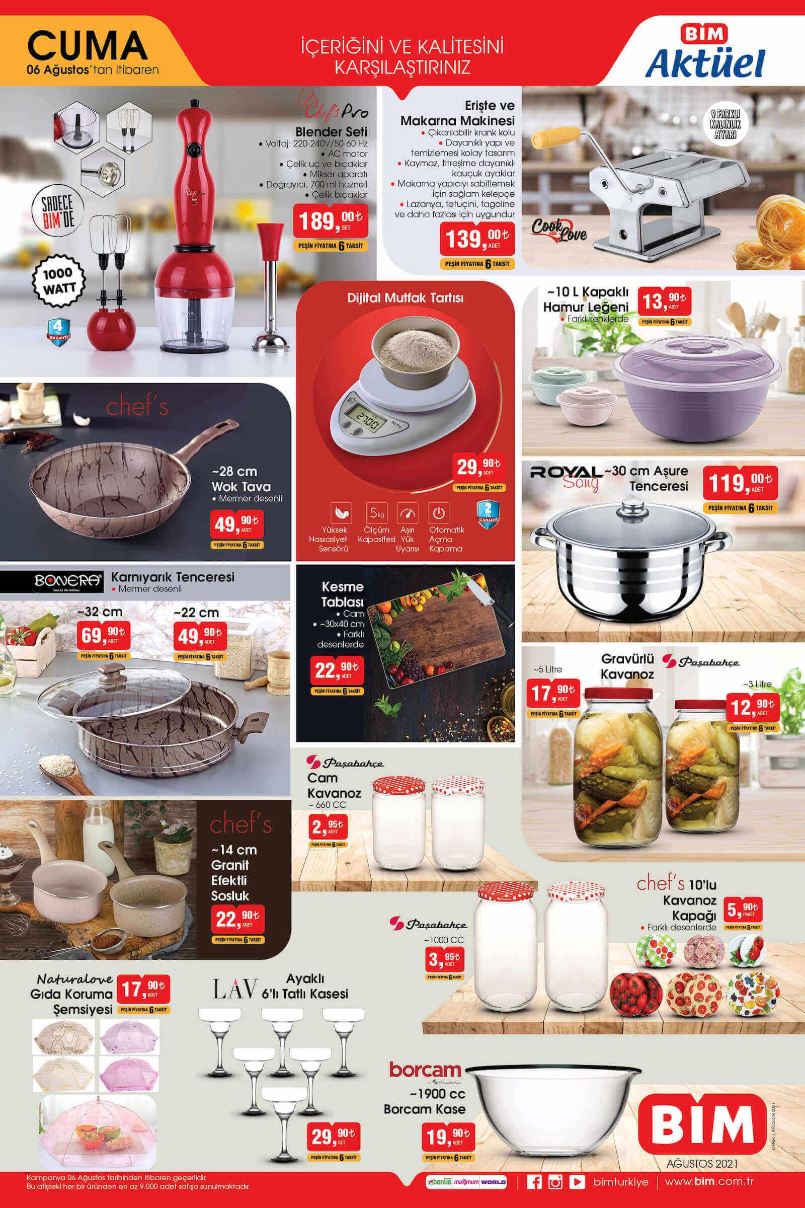 BİM aktüel ürünler kataloğu 6 ağustos mutfak