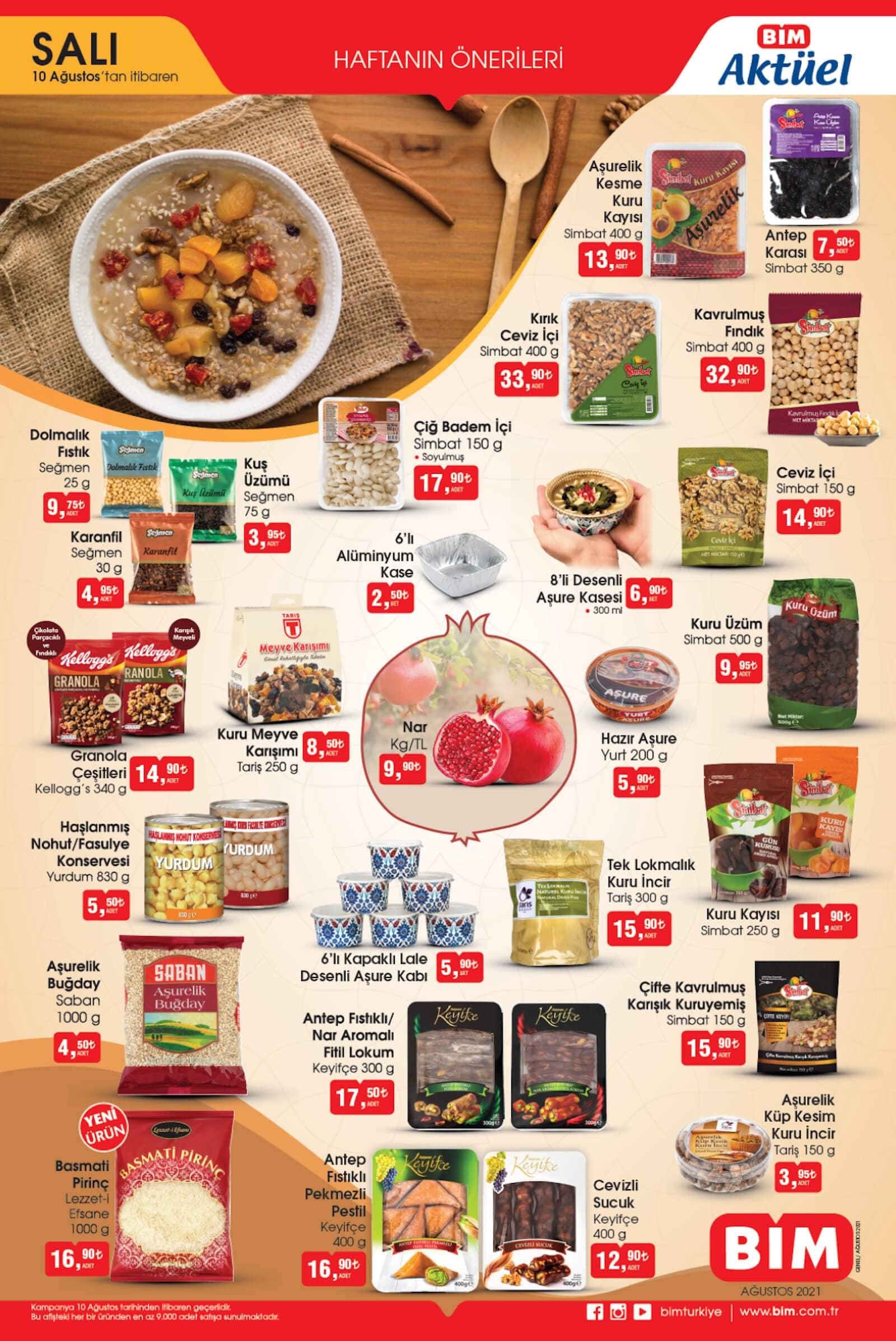 bim market 10 ağustos indirimli kuruyemiş ve baklagiller ürünleri