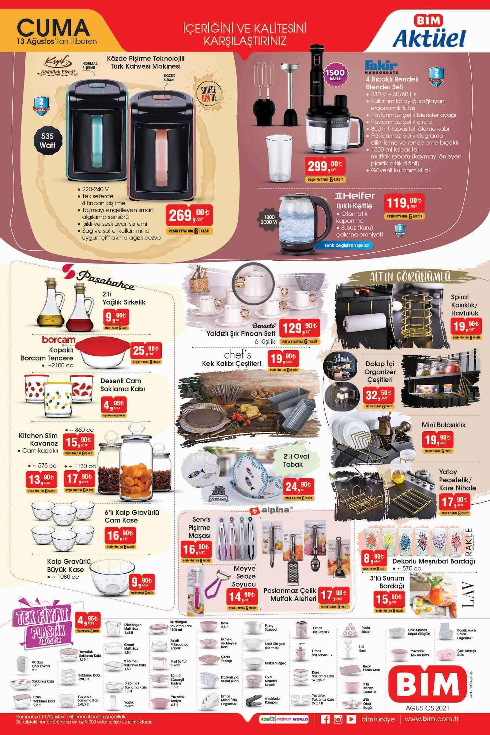 bim market 13 ağustos aktüel ürünler kataloğu