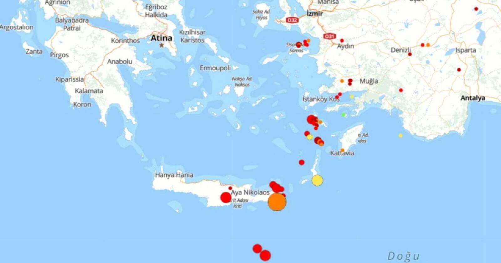 Girit Adasında 6.3 şiddedinde Deprem Meydana Geldi